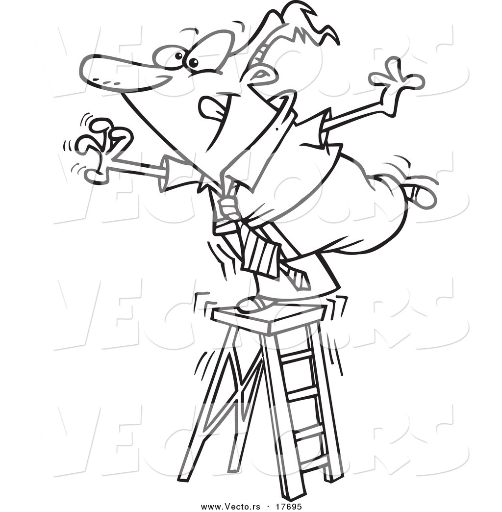 Vector Of A Cartoon Businessman Standing On A Ladder And
