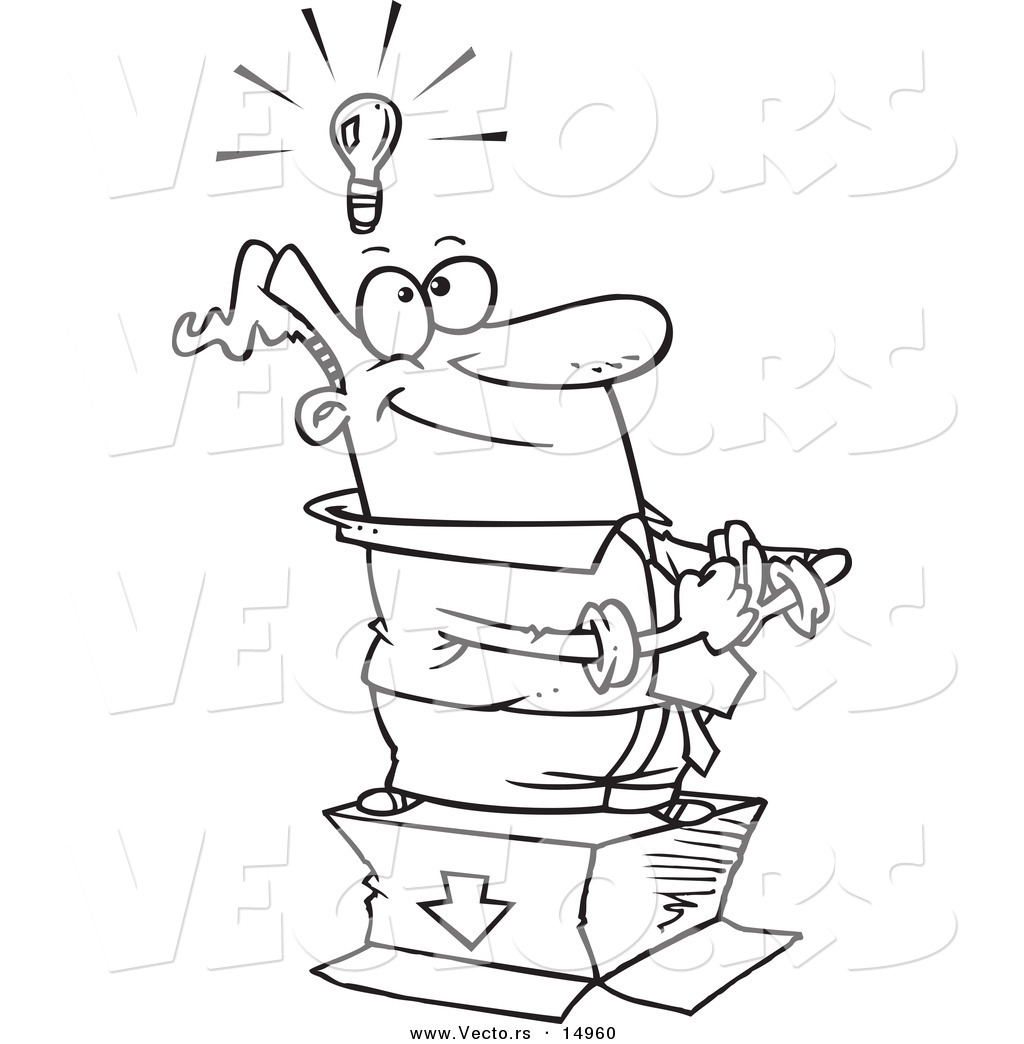 Vector of a Cartoon Businessman Standing with an Idea
