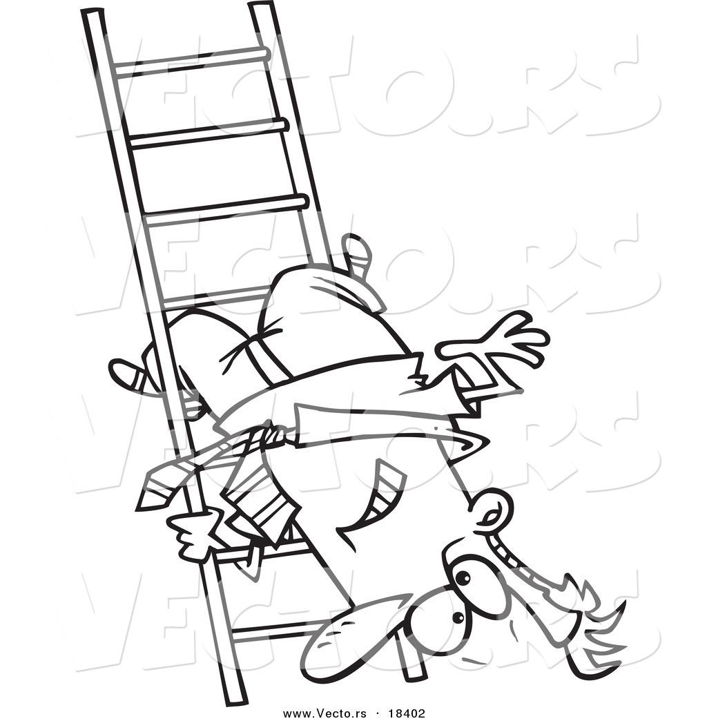 Vector Of A Cartoon Businessman Upside Down On A Ladder