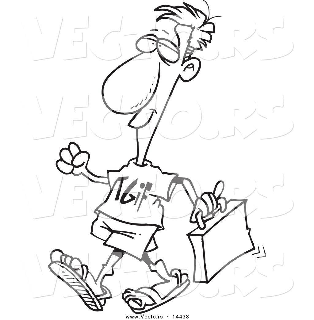 Vector of a Cartoon Businessman Wearing a TGIF Shirt on