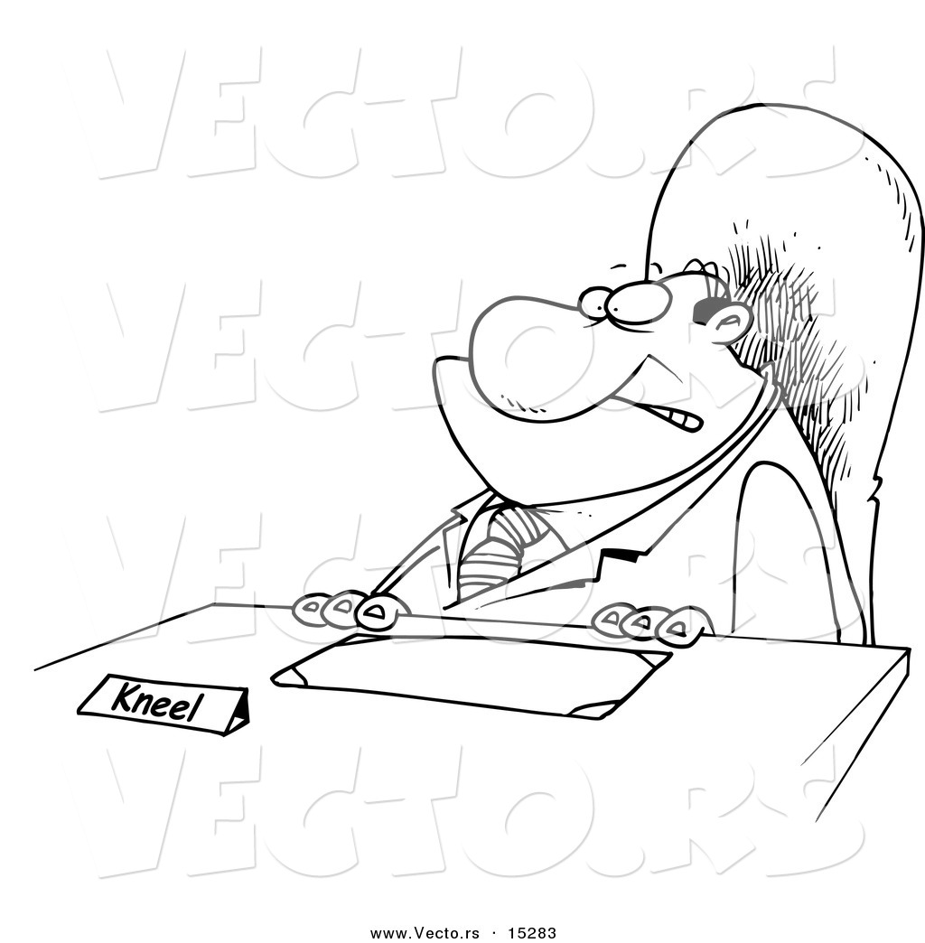 Vector of a Cartoon Businessman with a Kneel Sign on His