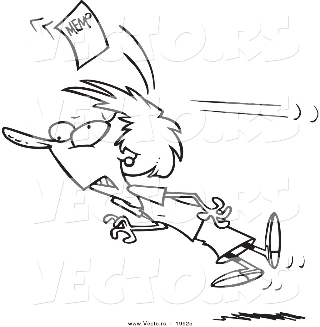 Vector of a Cartoon Businesswoman Being Knocked out with a