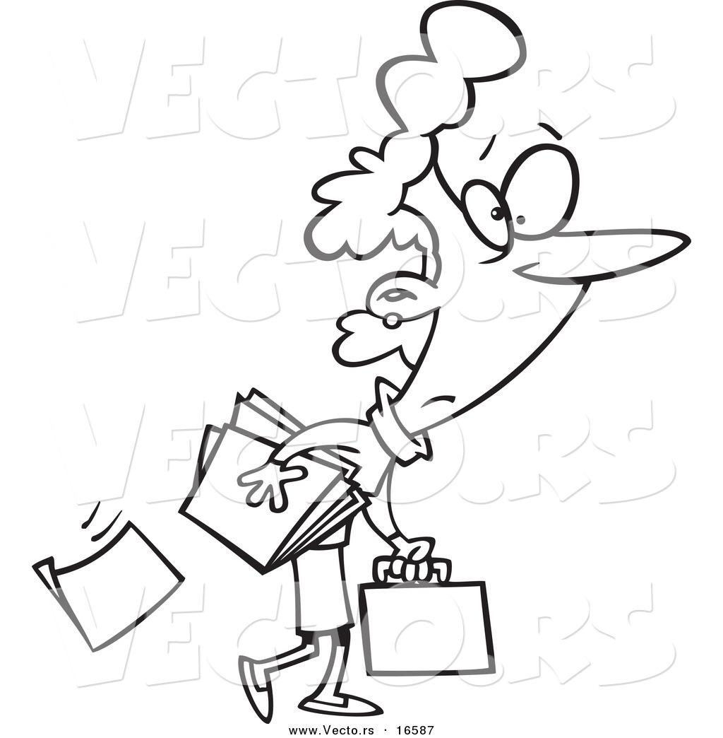 Vector of a Cartoon Businesswoman Dropping Paperwork