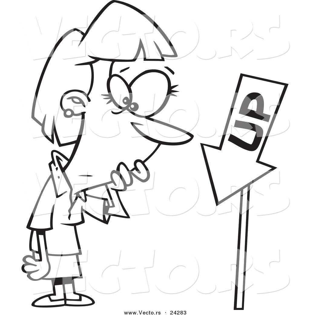 Vector of a Cartoon Businesswoman Looking at an up Sign