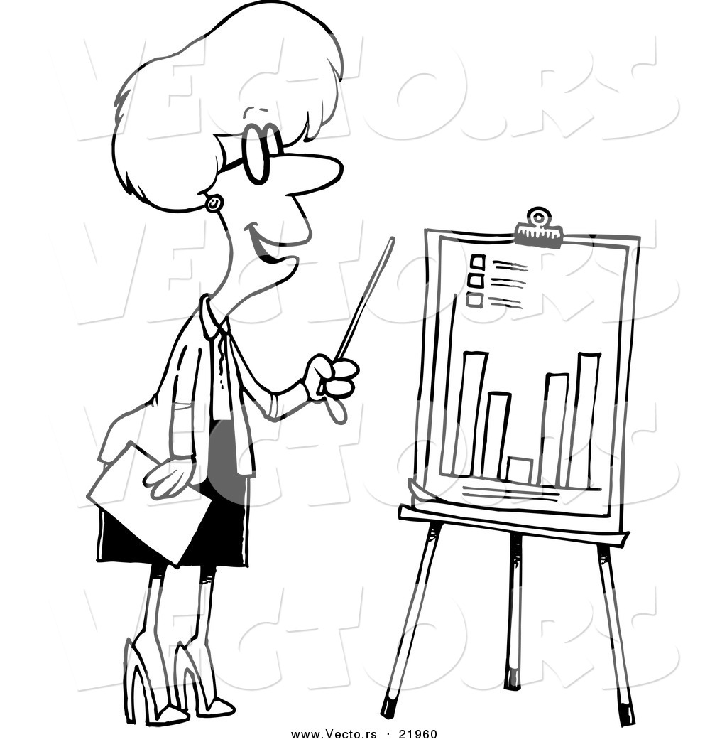 Vector Of A Cartoon Businesswoman Presenting A Bar Graph
