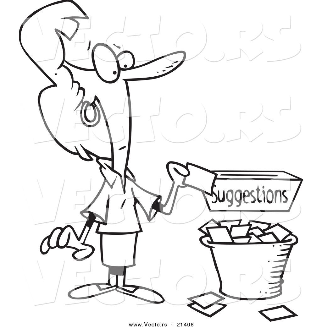 Vector of a Cartoon Businesswoman Putting a Complaint in a