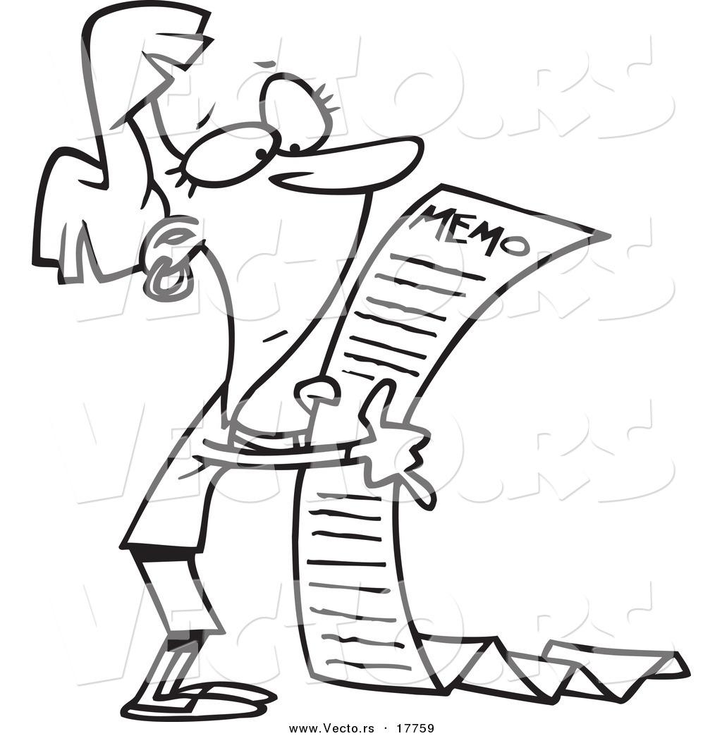 Vector of a Cartoon Businesswoman Reading a Long Memo