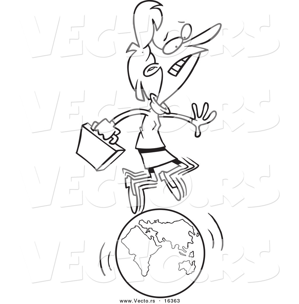 Vector of a Cartoon Businesswoman Running on a Globe