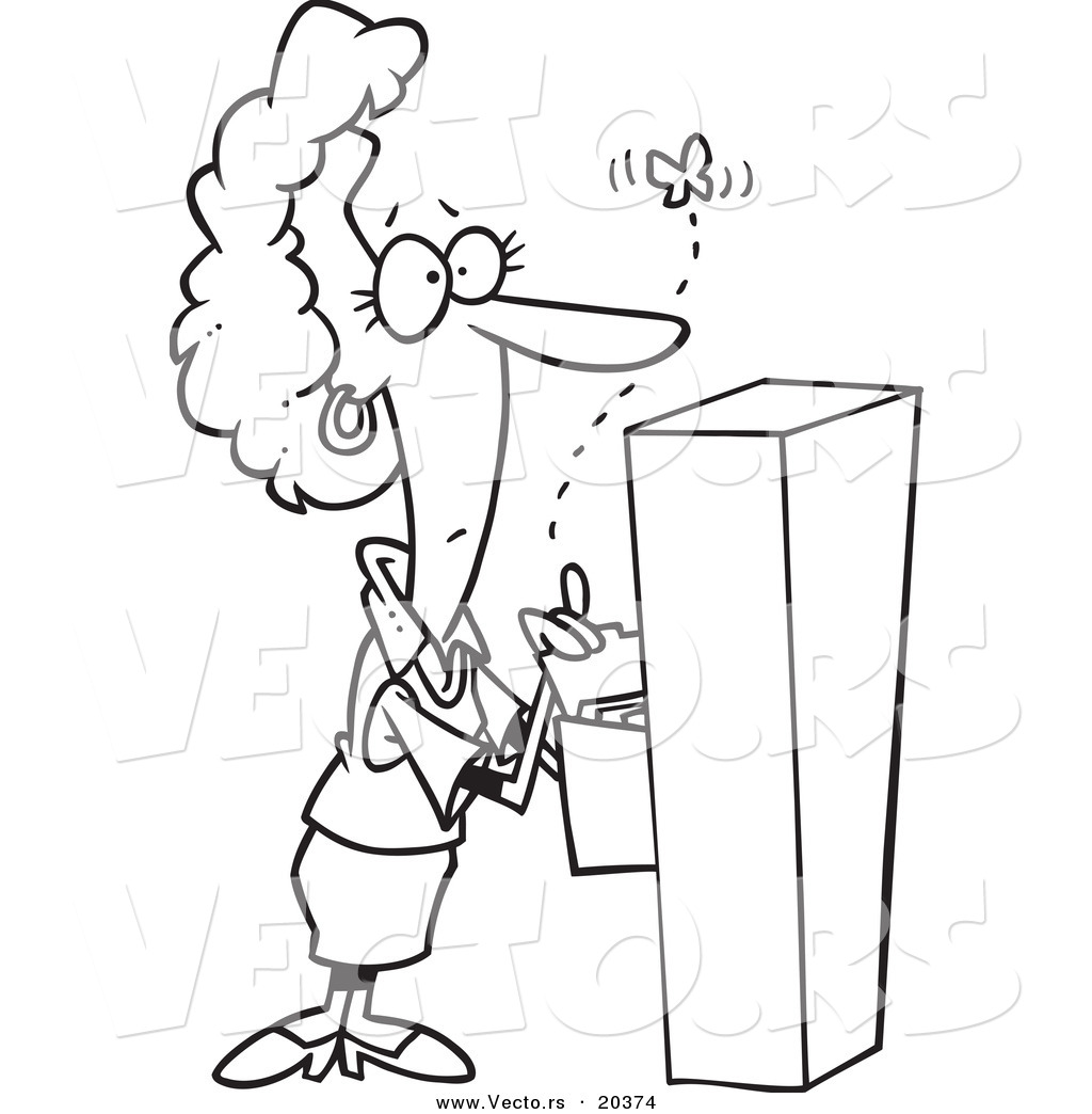 Vector Of A Cartoon Businesswoman Watching A Moth Emerge From A Filing Cabinet