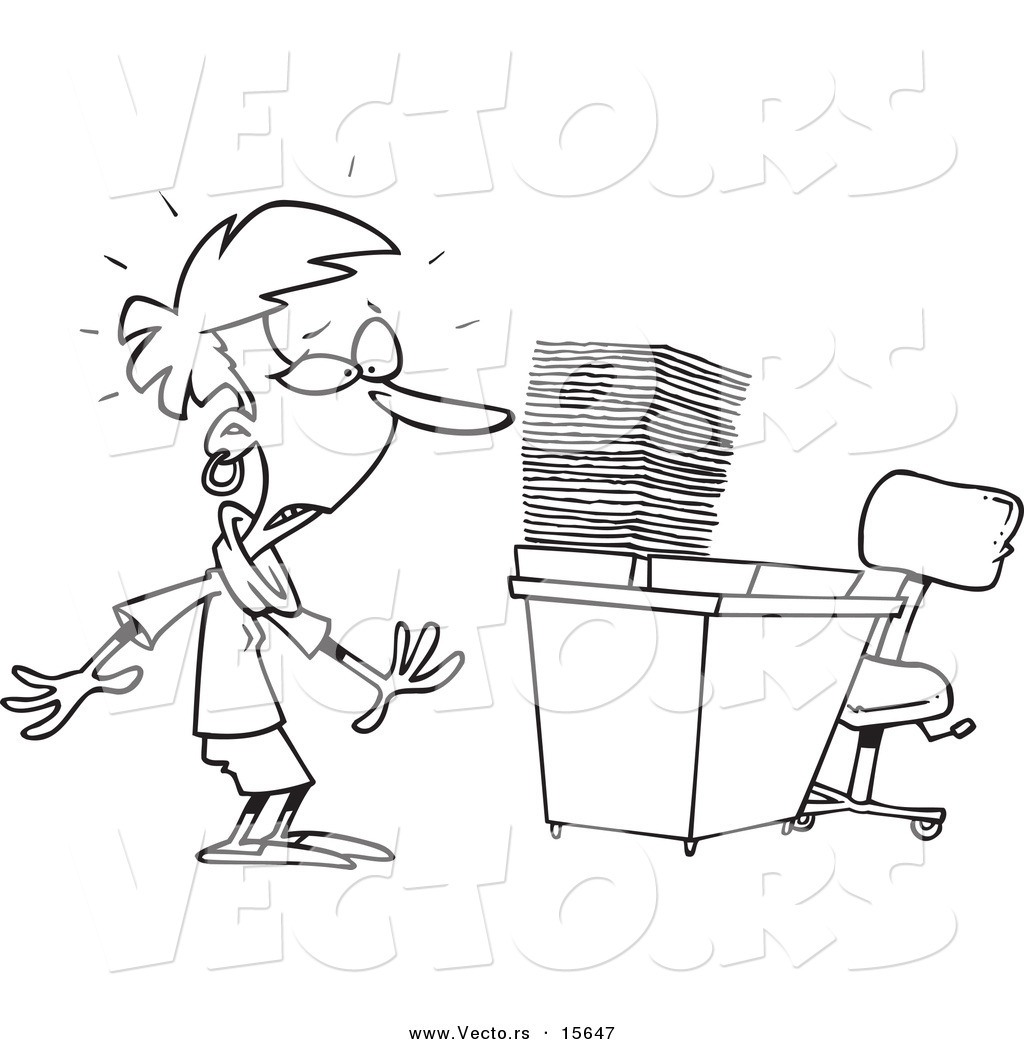 Vector Of A Cartoon Businesswoman With A Piled Inbox