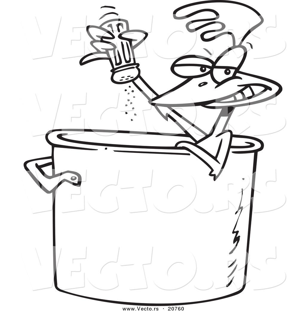 Vector of a Cartoon Chicken Seasoning Himself in a Soup
