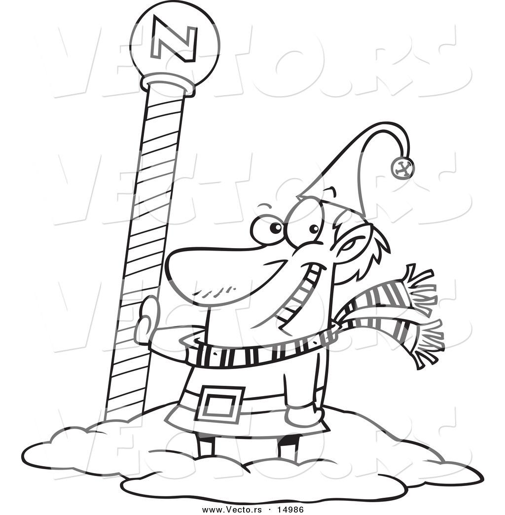 Vector Of A Cartoon Christmas Elf By The North Pole