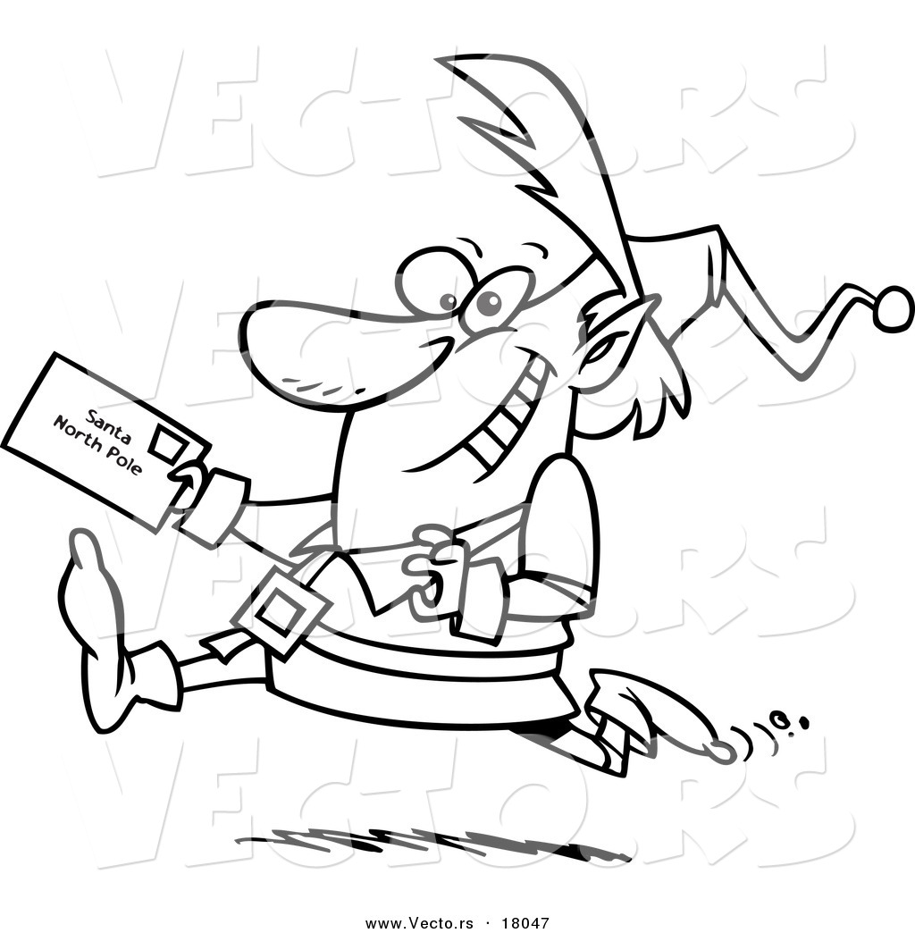 Vector of a Cartoon Christmas Elf Running with a Letter
