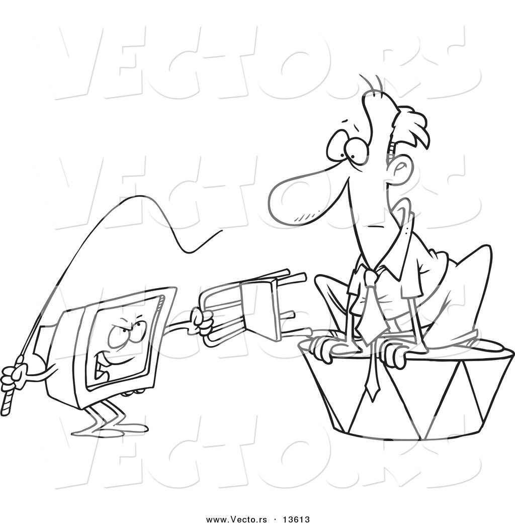 Vector of a Cartoon Computer Training a Businessman with a