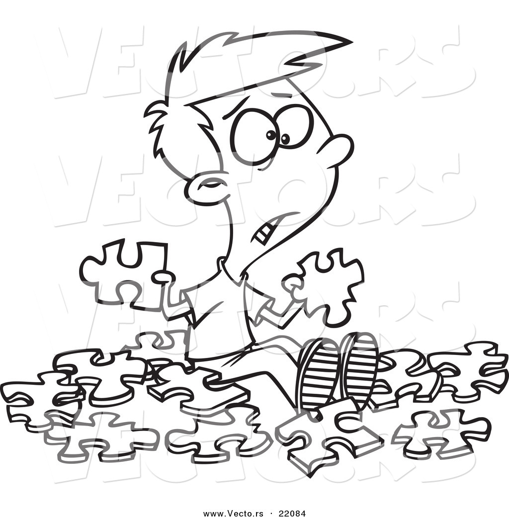 Vector of a Cartoon Confused Boy with Similar Puzzle