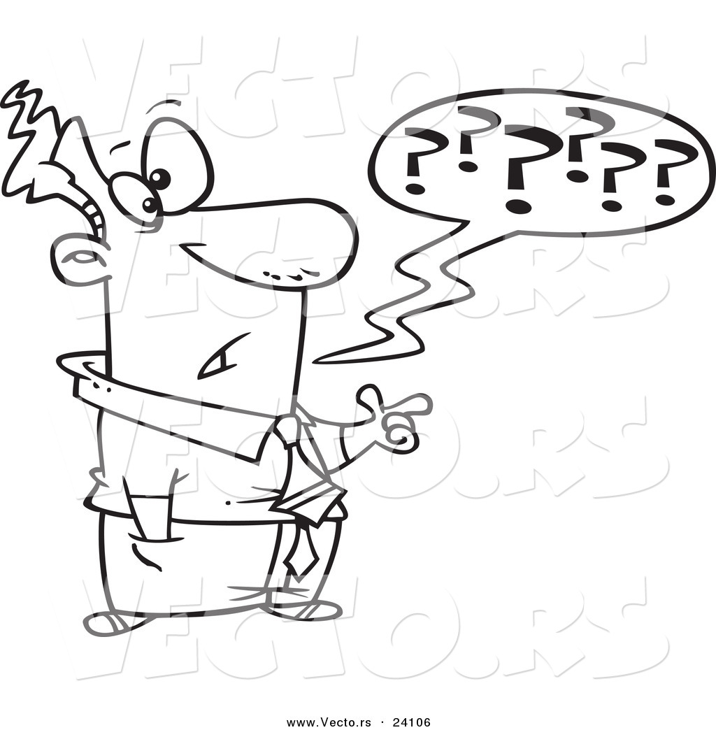 Vector of a Cartoon Confused Businessman Questioning