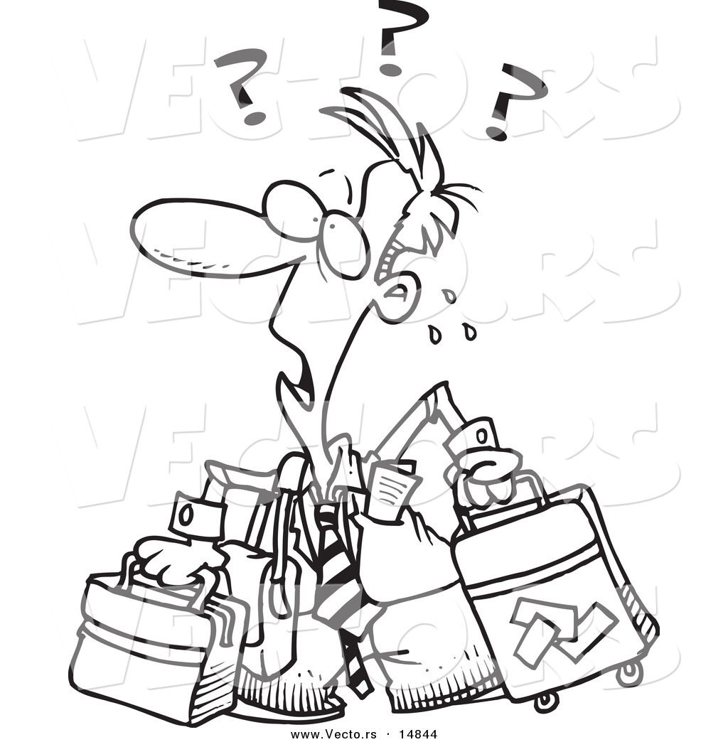 Vector Of A Cartoon Confused Businessman With Luggage