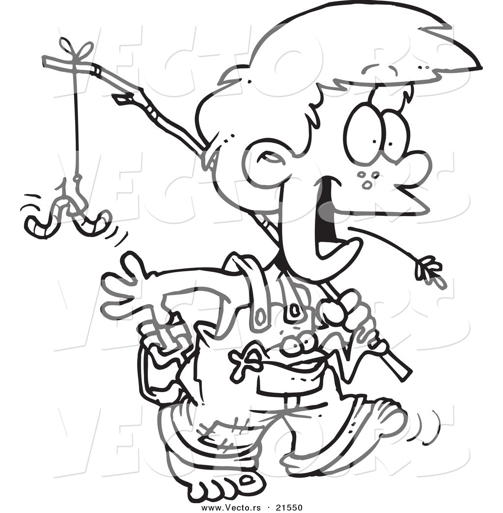 Vector Of A Cartoon Country Boy Carrying A Fishing Pole Outlined