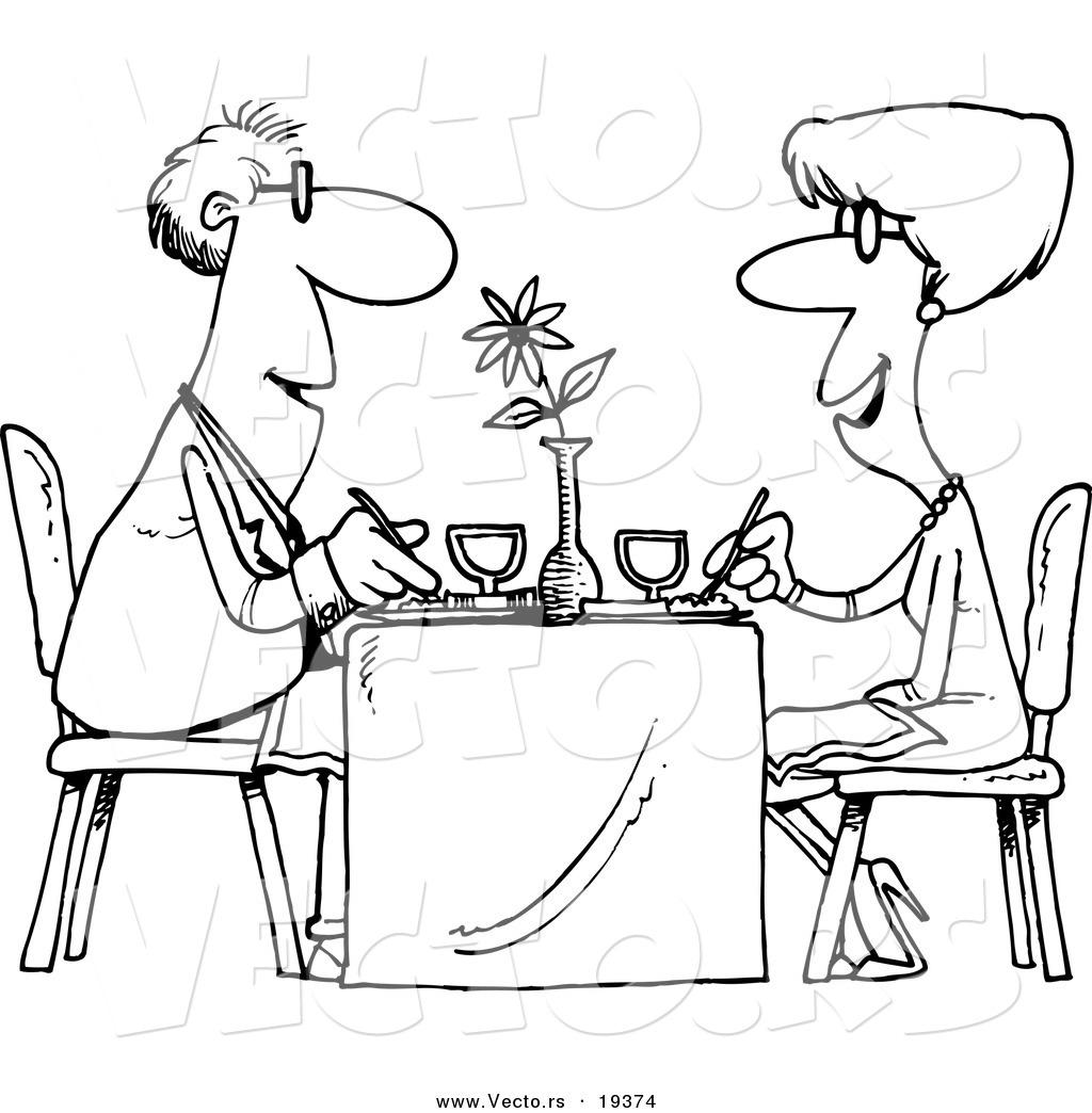 Vector Of A Cartoon Couple Dining At A Restaurant
