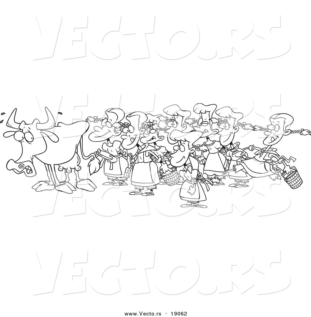 Vector Of A Cartoon Cow With Eight Milking Maids