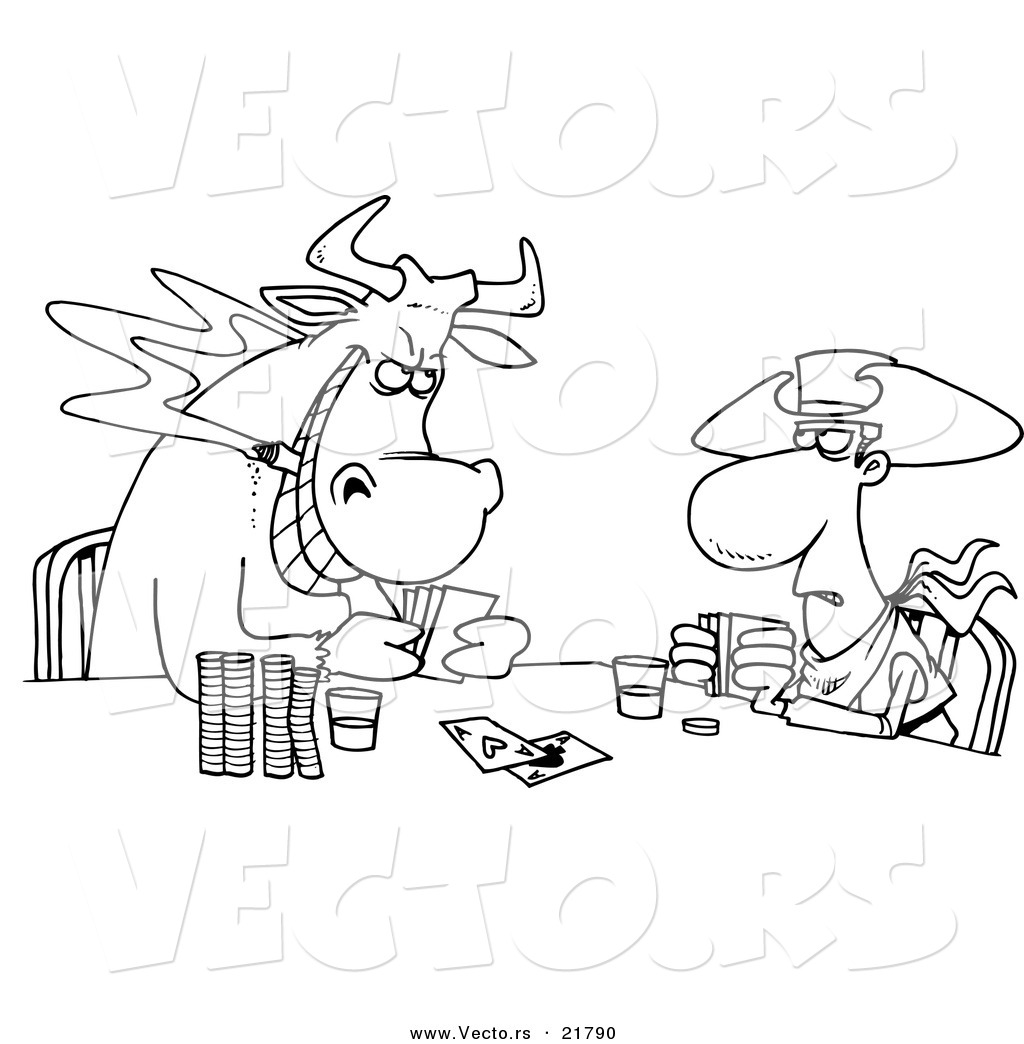 Vector of a Cartoon Cowboy and Bull Playing Poker