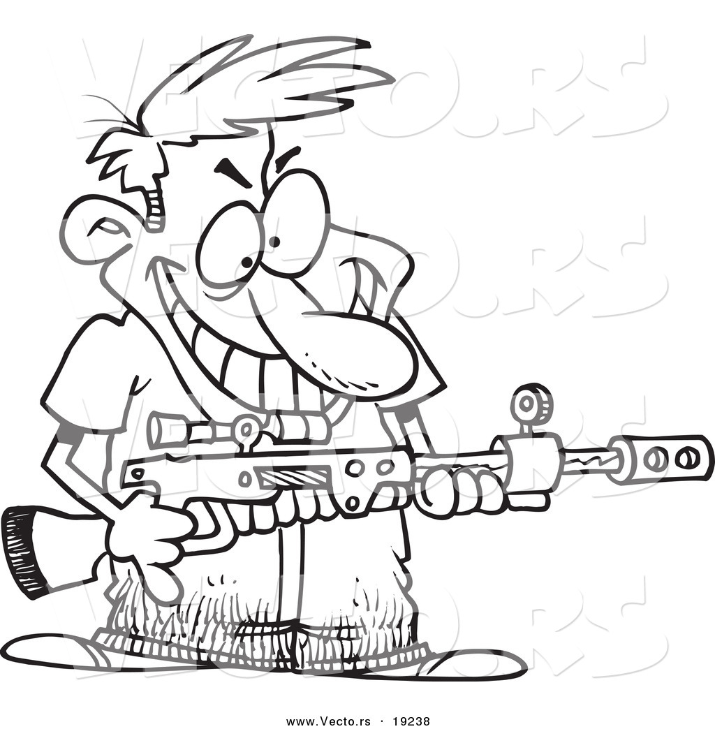 Vector Of A Cartoon Demented Man Holding A Gun