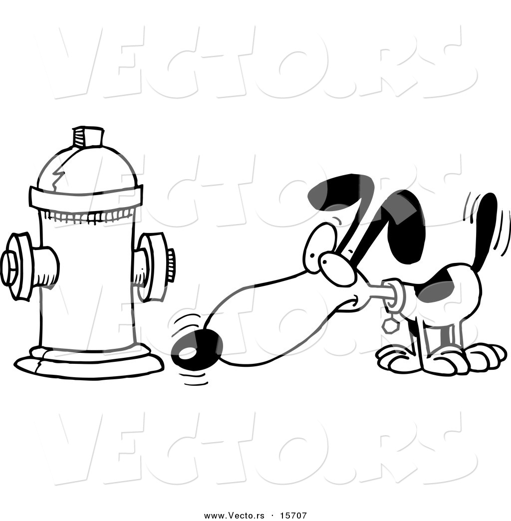 Vector of a Cartoon Dog Anticipating Relieving Himself on