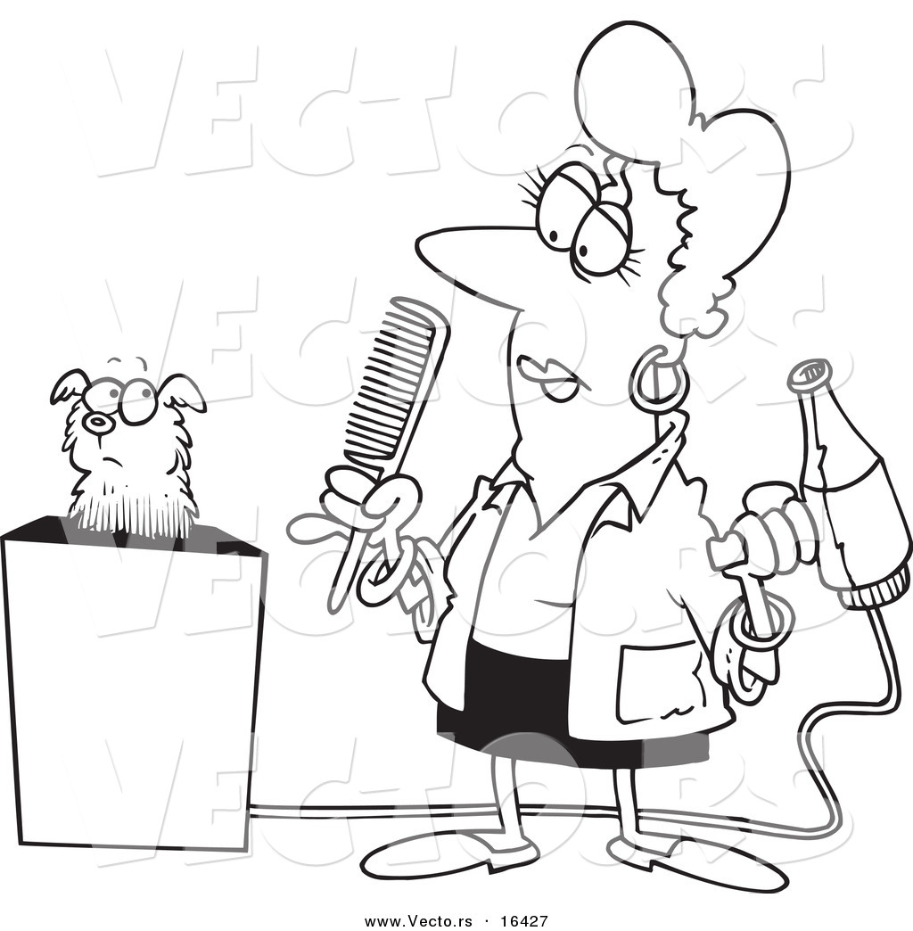 Vector Of A Cartoon Dog Groomer Holding A Comb And Blow