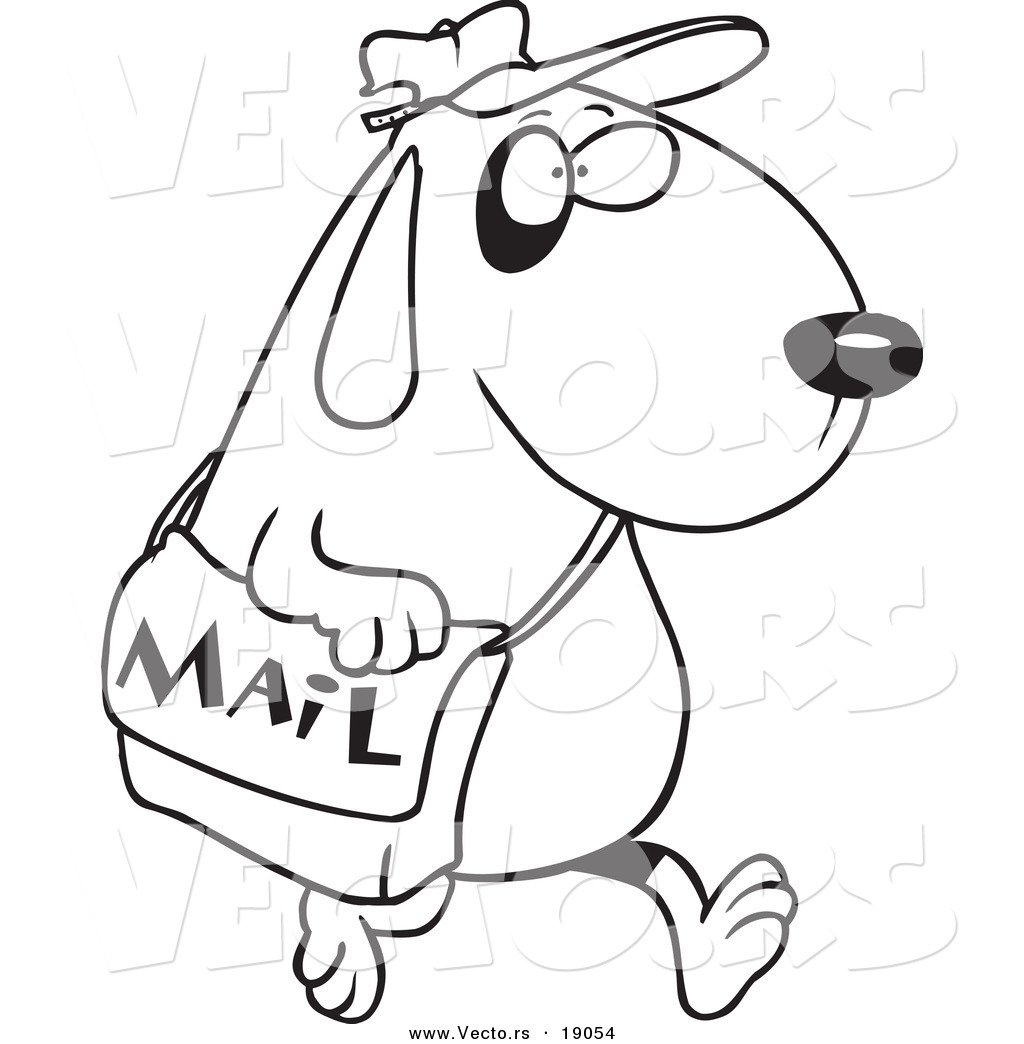 Vector Of A Cartoon Dog Postal Worker Carrying A Mail Bag