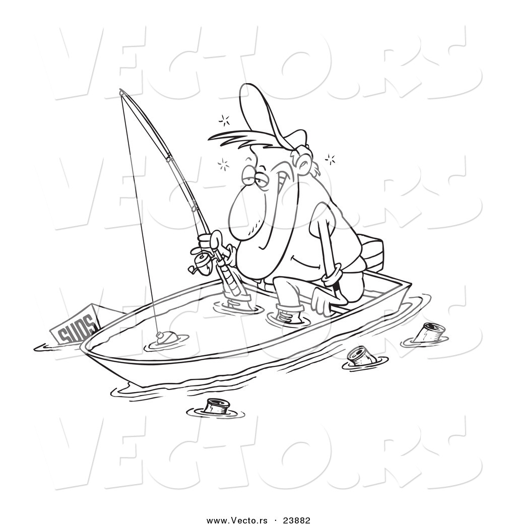 Vector of a Cartoon Drunk Man Fishing in a Sinking Boat