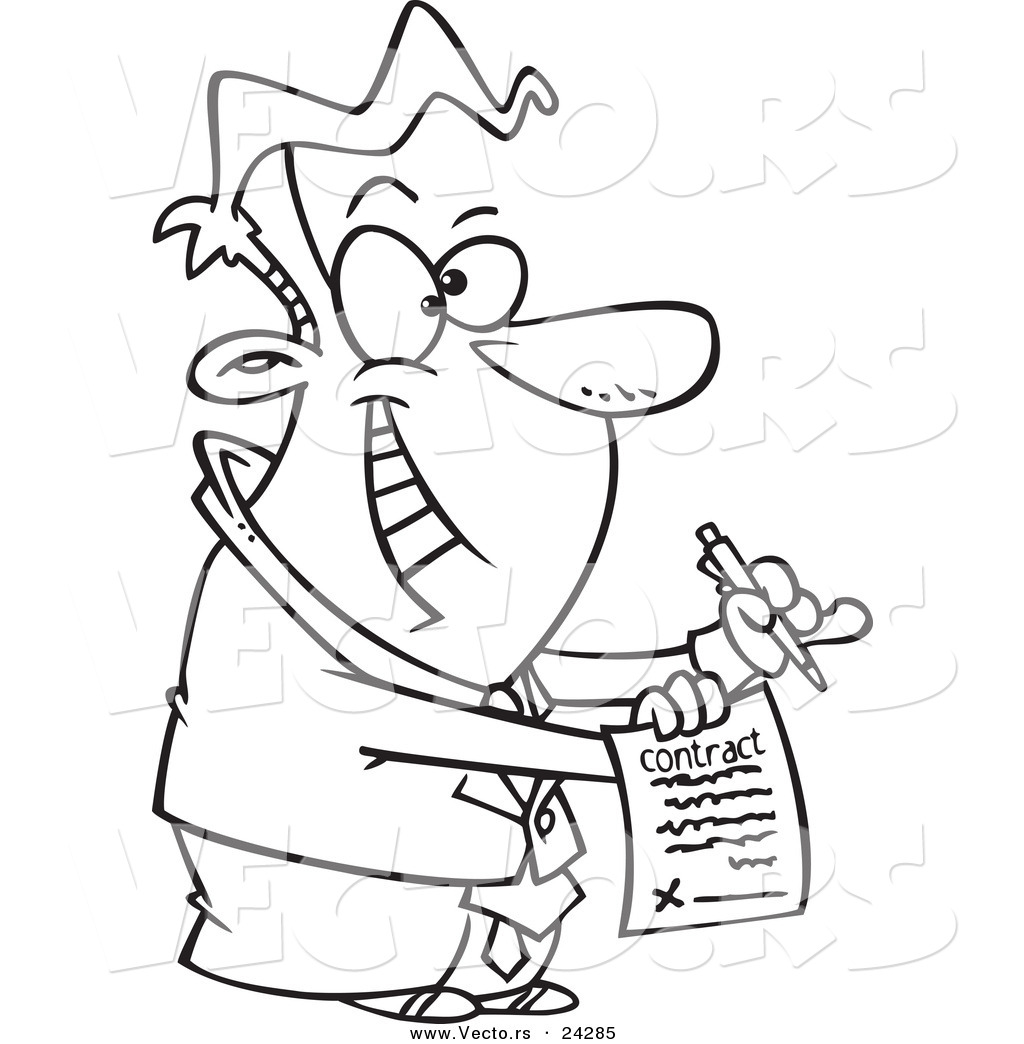 Vector Of A Cartoon Eager Businessman Holding A Contract