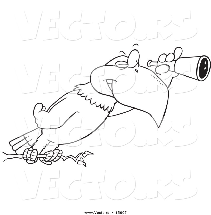 vector of a cartoon eagle using a telescope  outlined
