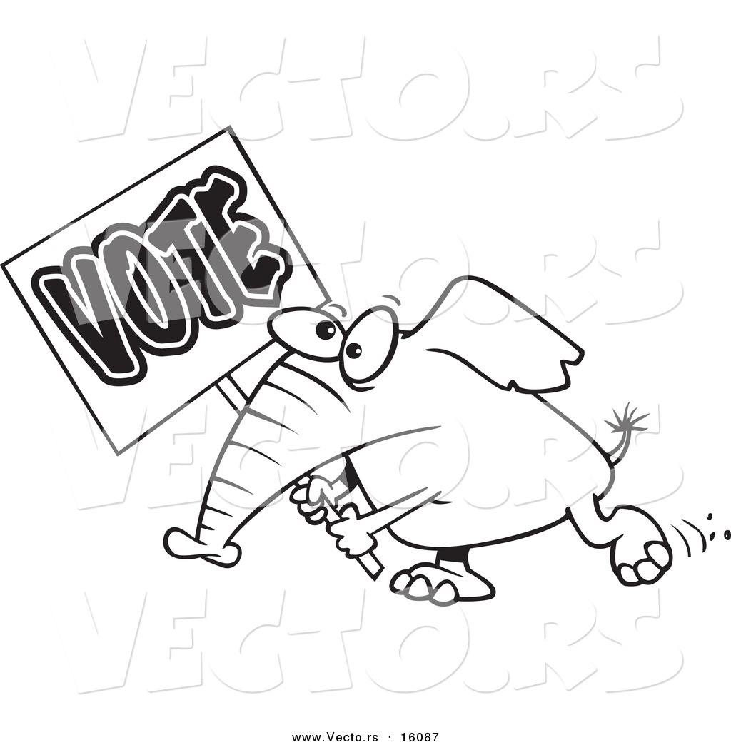 Vector of a Cartoon Elephant Carrying a Vote Sign