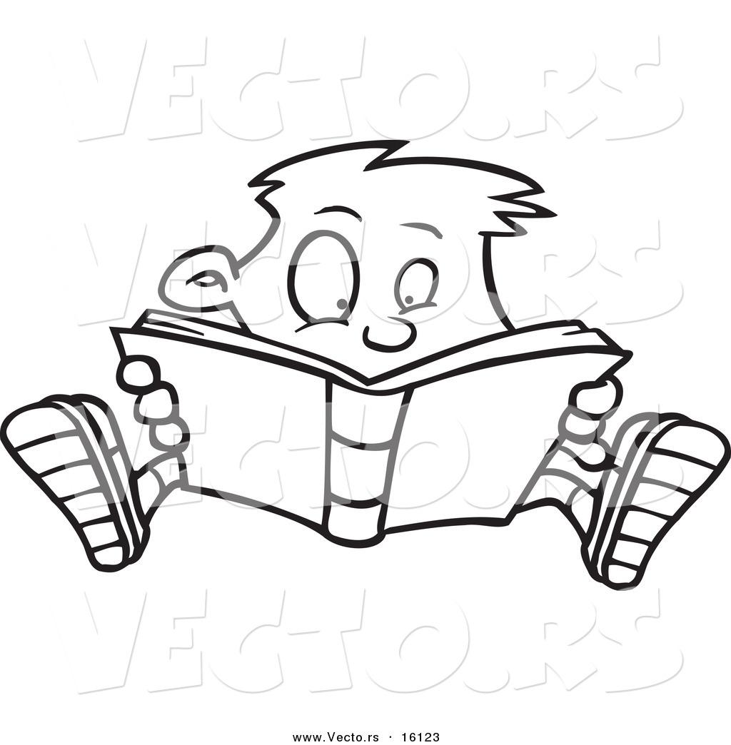 Vector of a Cartoon Enthralled Boy Reading a Book