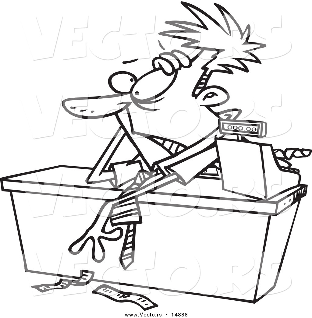 Vector of a Cartoon Exhausted Businessman Leaning over a