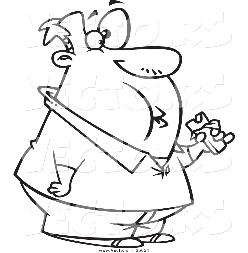 Vector Of A Cartoon Fat Man Eating A Chocolate Candy Bar