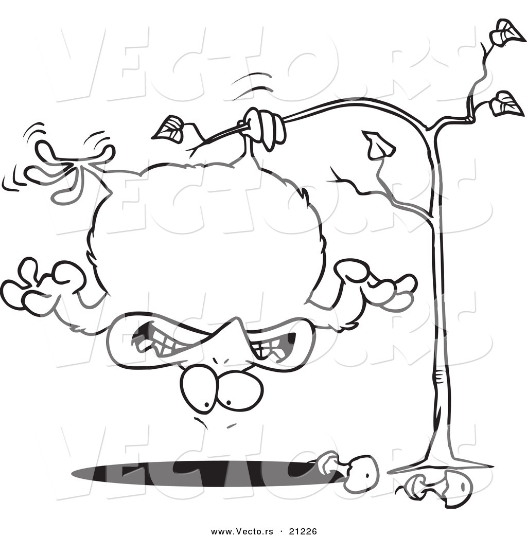 Vector Of A Cartoon Fat Partridge Hanging Upside Down In A