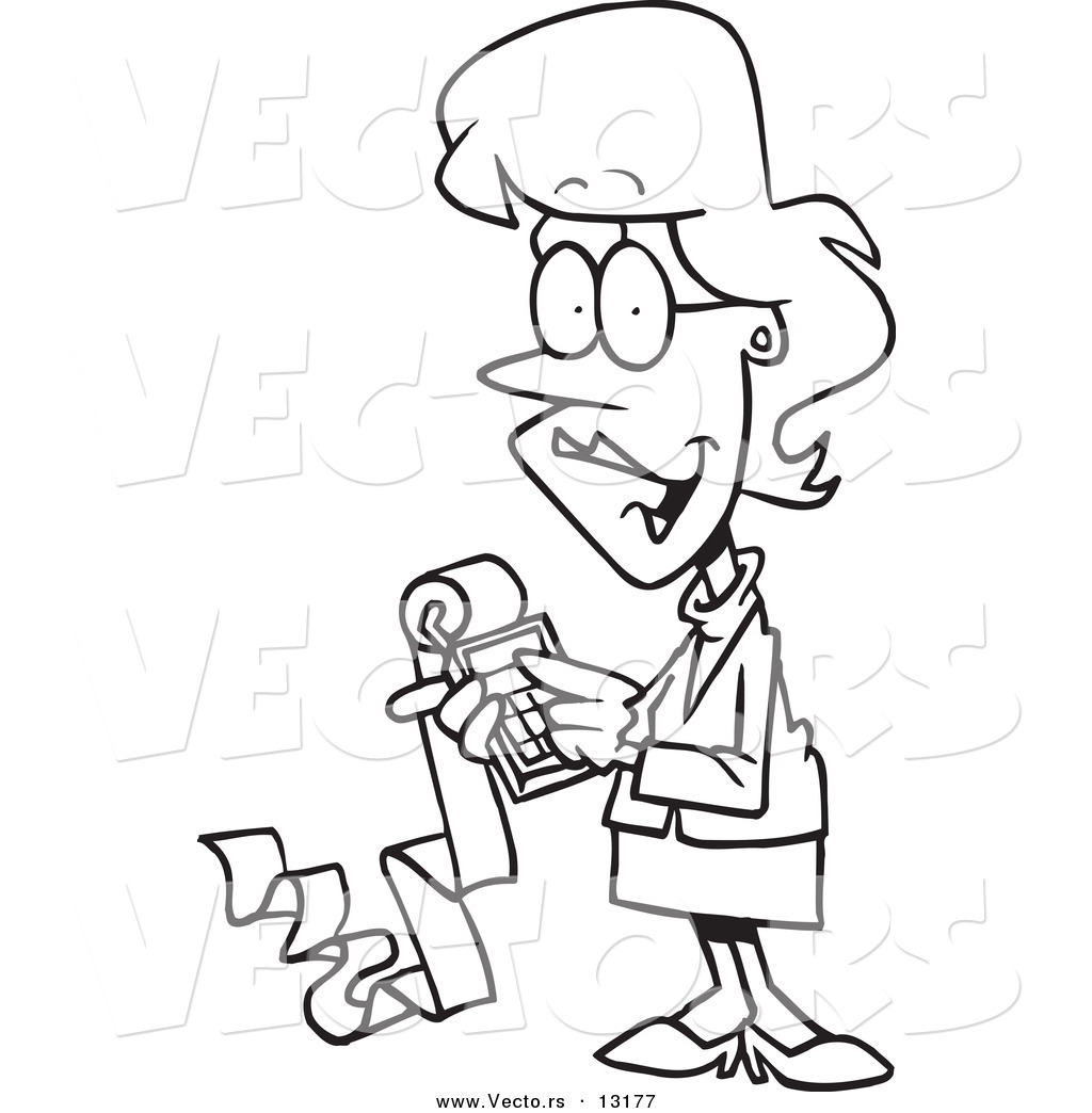 Vector of a Cartoon Female Accountant Holding a Calculator