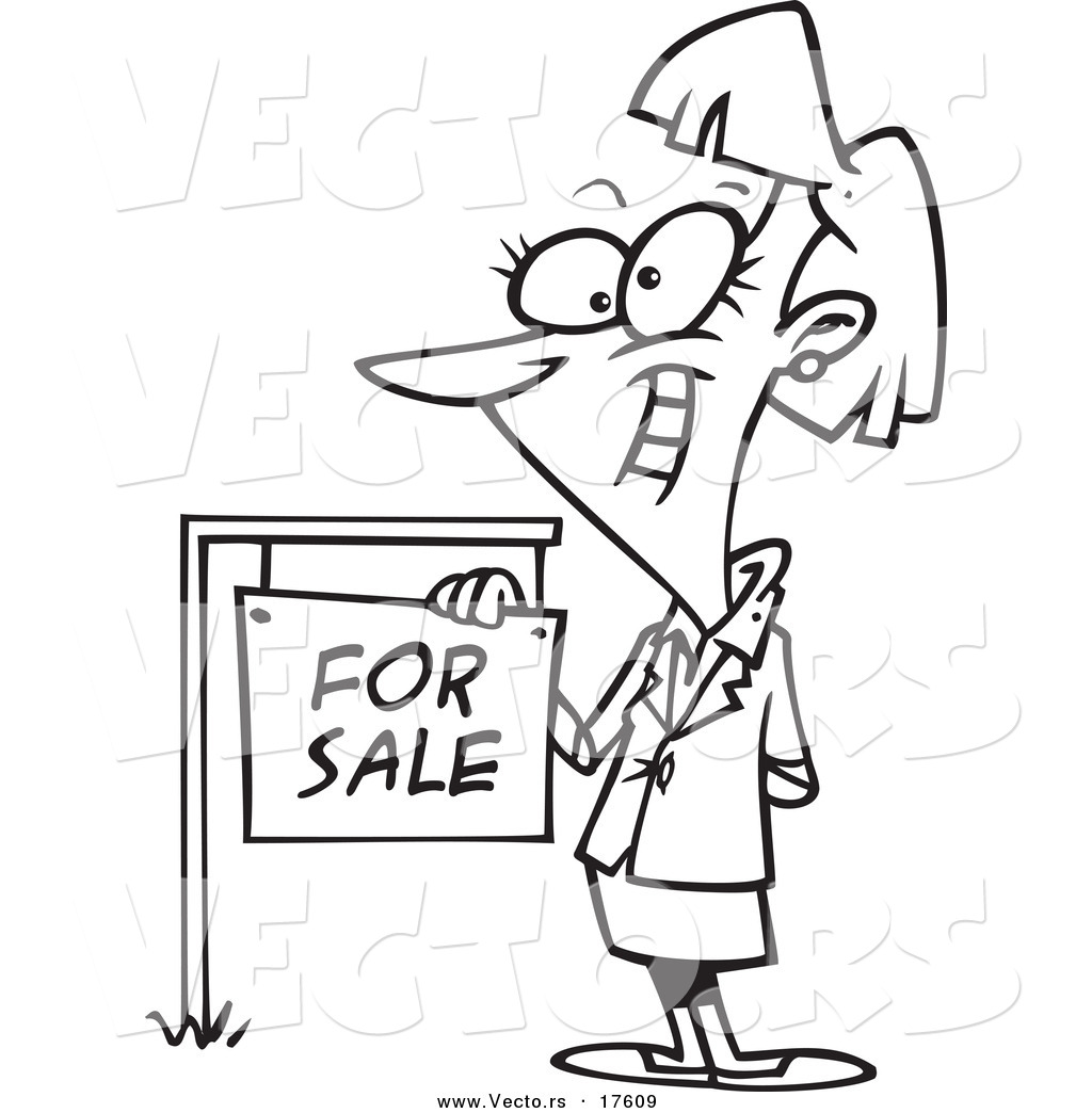 Vector of a Cartoon Female Realtor by a for Sale Sign