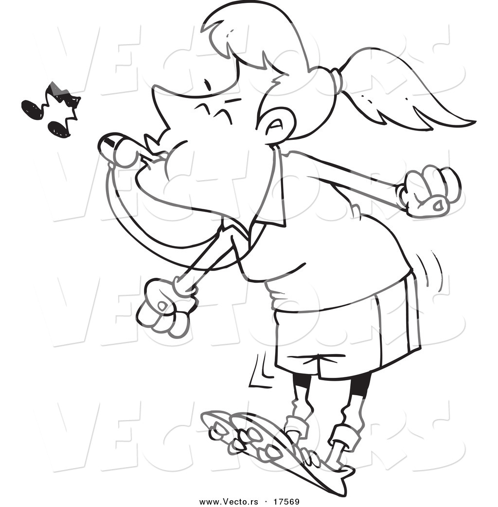 Vector of a Cartoon Female Referee Blowing a Whistle