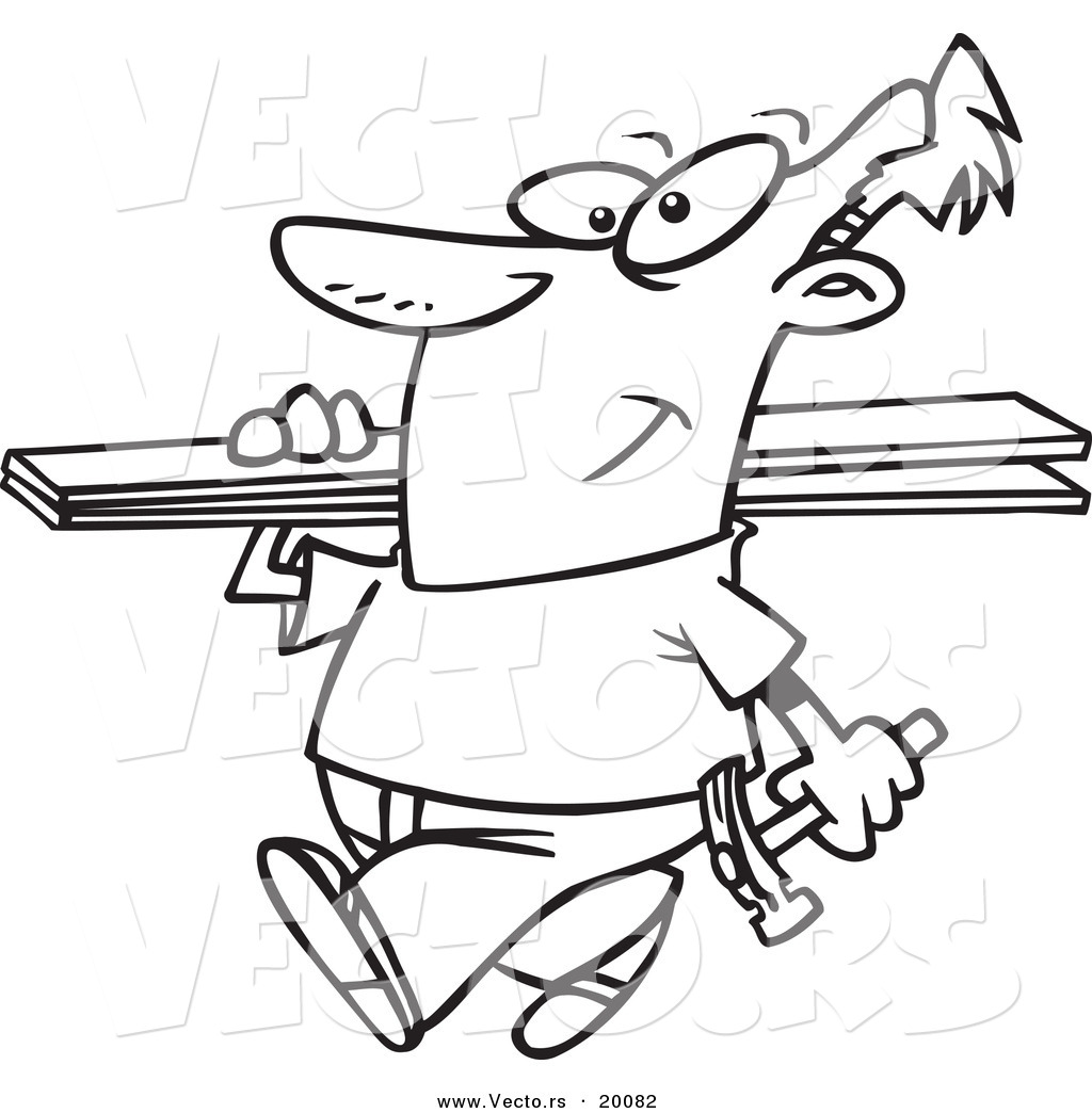 Larger Preview: Vector of a Cartoon Fencer Carrying Planks