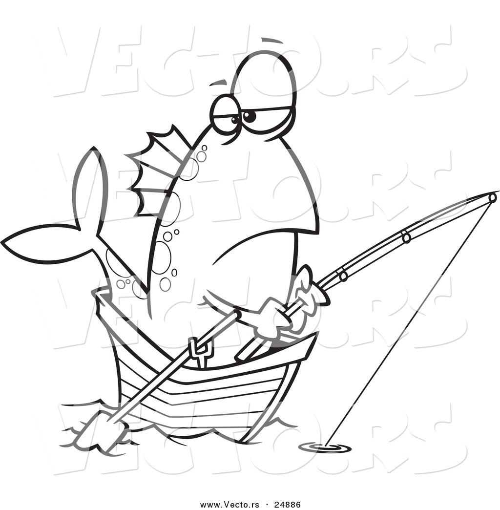 Coloring Page Of A Fishing Boat