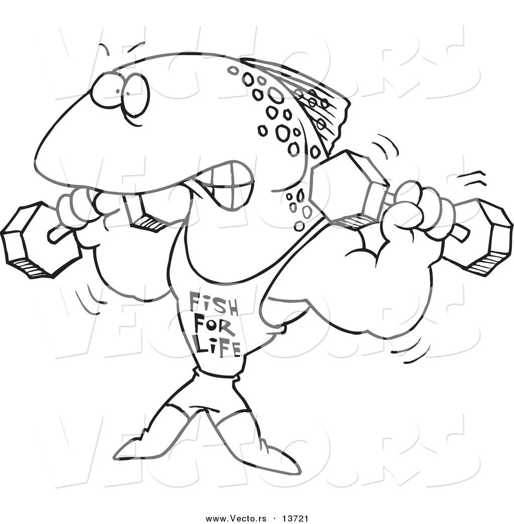 Vector Of A Cartoon Fish Lifting Weights And Wearing A Fish For Life Shirt