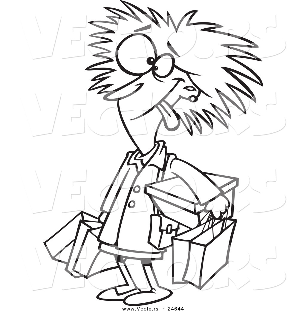 Vector Of A Cartoon Frazzled Black Friday Shopper Woman