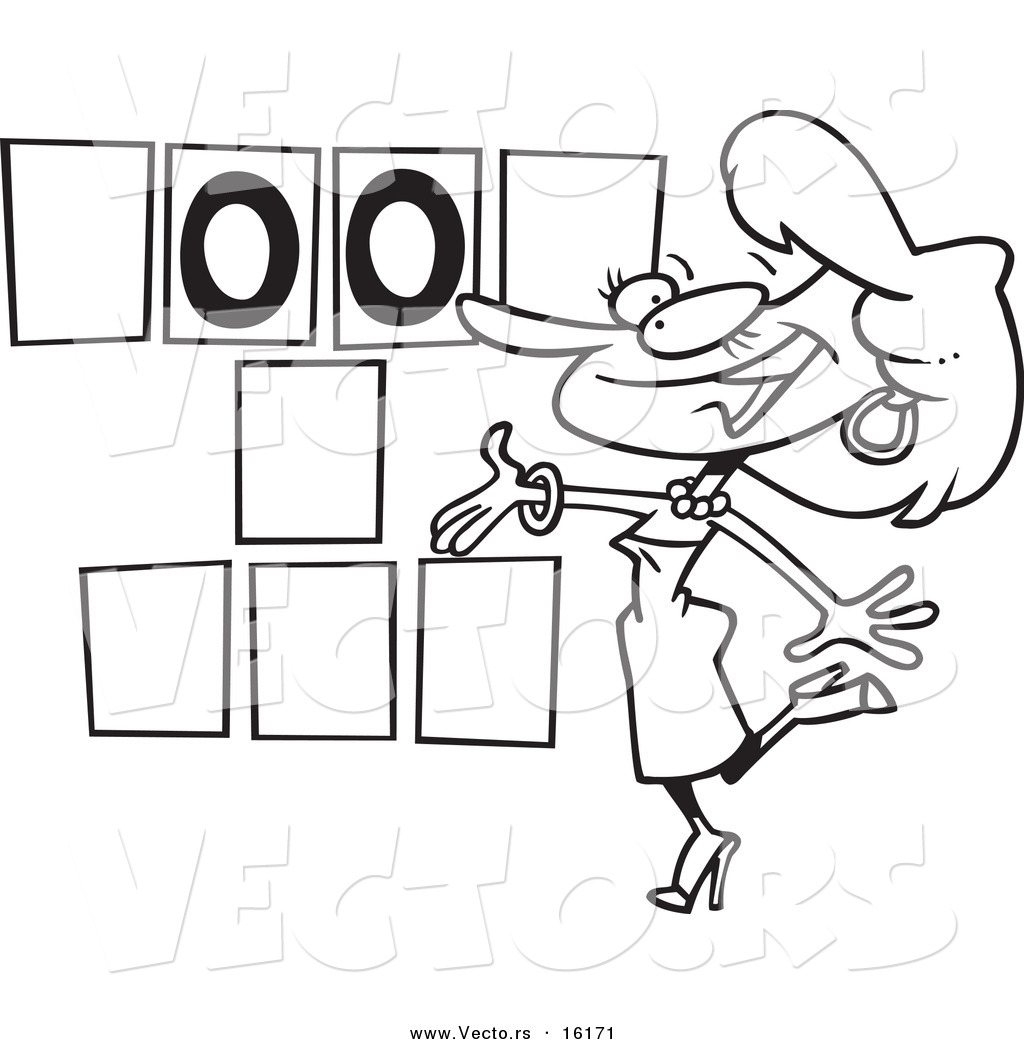 Vector of a Cartoon Game Show Hostess Presenting Blank