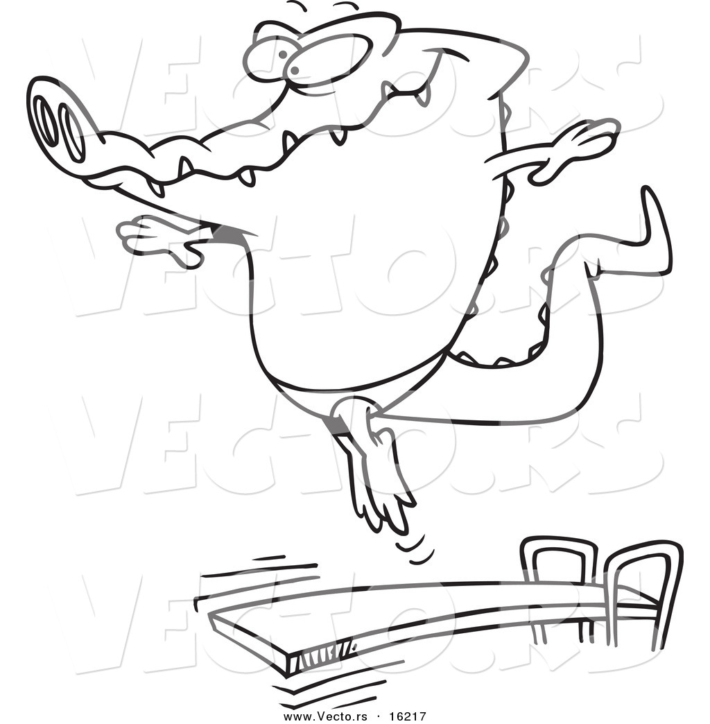 Vector of a Cartoon Gator Bouncing off a Diving Board