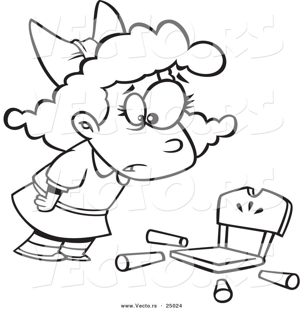 Vector Of A Cartoon Girl Goldilocks With A Broken Chair