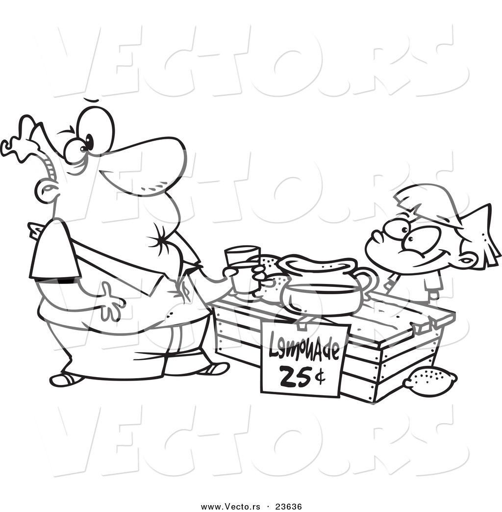 Vector Of A Cartoon Girl Selling Sour Lemonade
