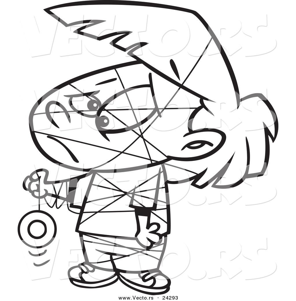Vector Of A Cartoon Girl Tangled In Her Yo Yo String Black And