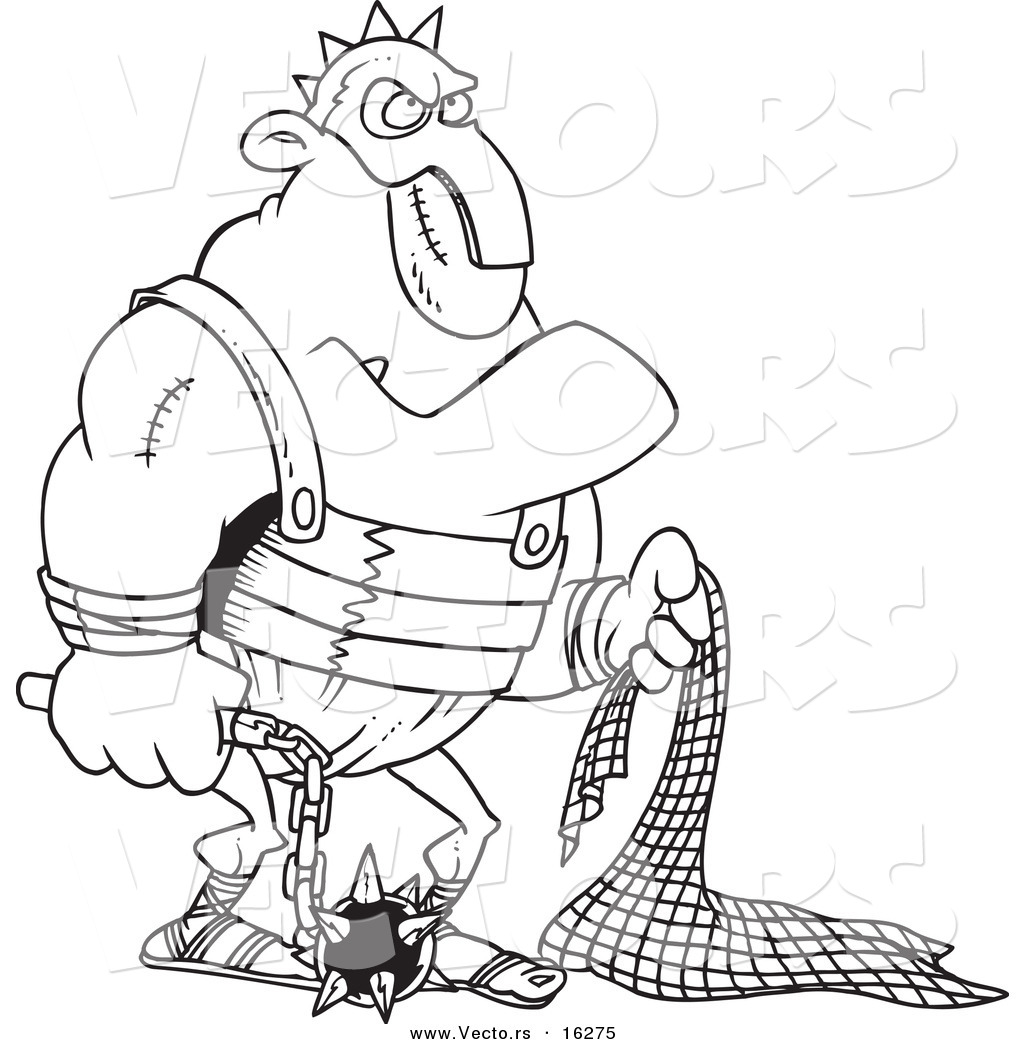 Vector of a Cartoon Gladiator Holding a Net and Flail